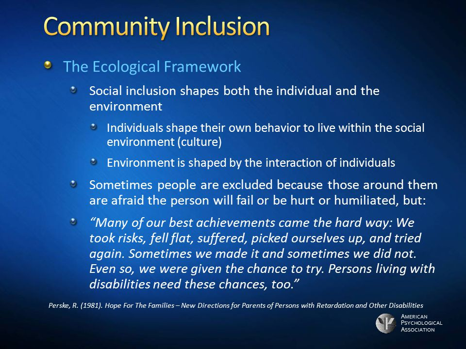 Community Inclusion The Ecological Framework