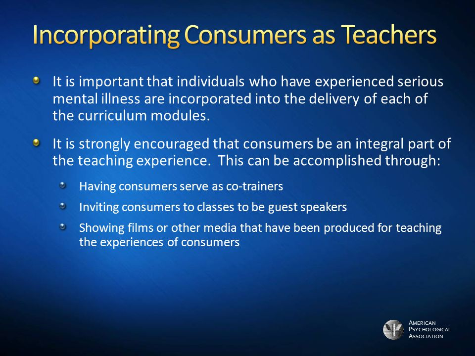 Incorporating Consumers as Teachers