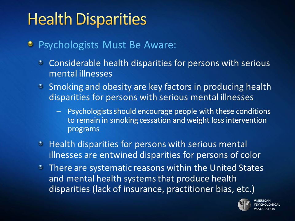 Health Disparities Psychologists Must Be Aware: