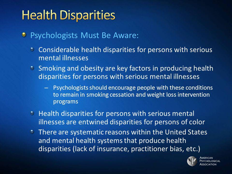 Health Disparities Psychologists Must Be Aware: