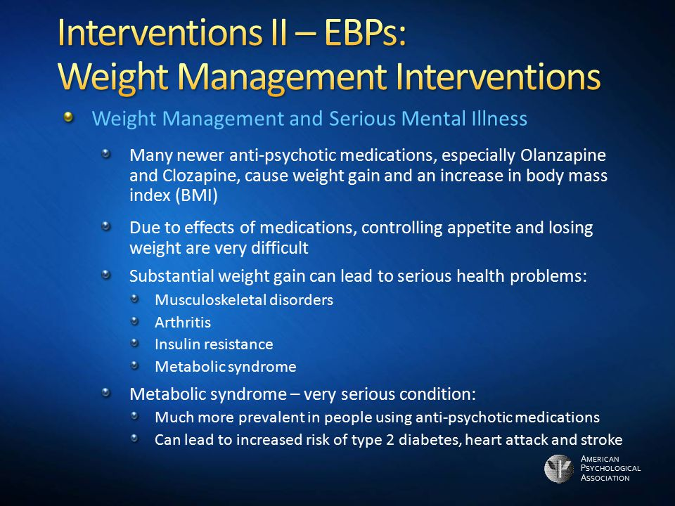 Interventions II – EBPs: Weight Management Interventions