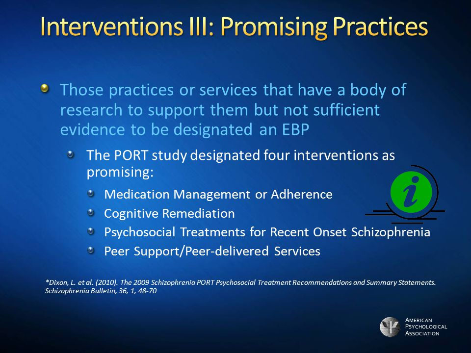 Interventions III: Promising Practices