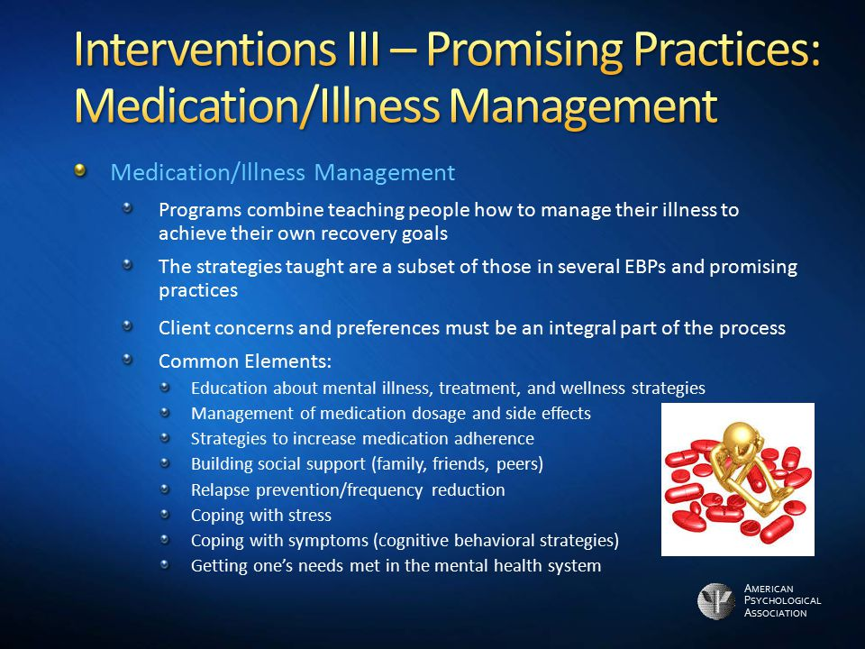 Interventions III – Promising Practices: Medication/Illness Management