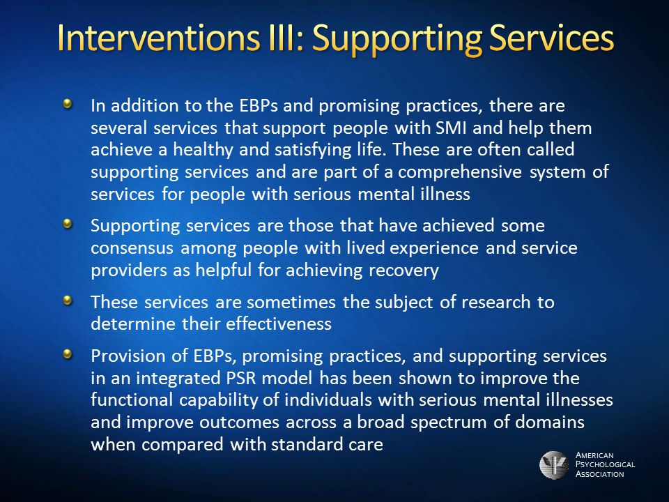 Interventions III: Supporting Services