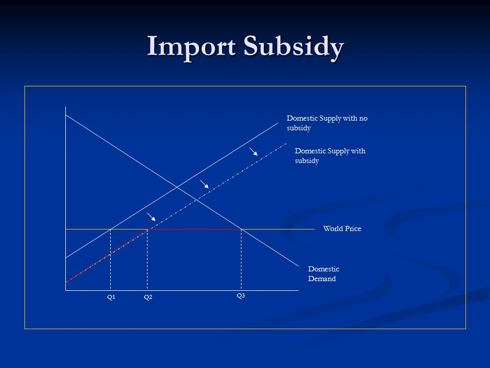 Import Subsidy Domestic Supply with no subsidy