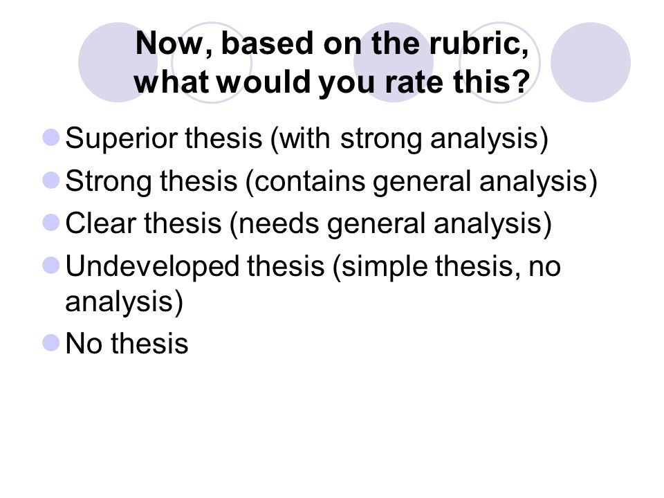 Now, based on the rubric, what would you rate this