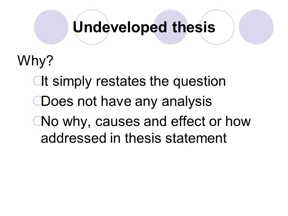 Undeveloped thesis Why It simply restates the question