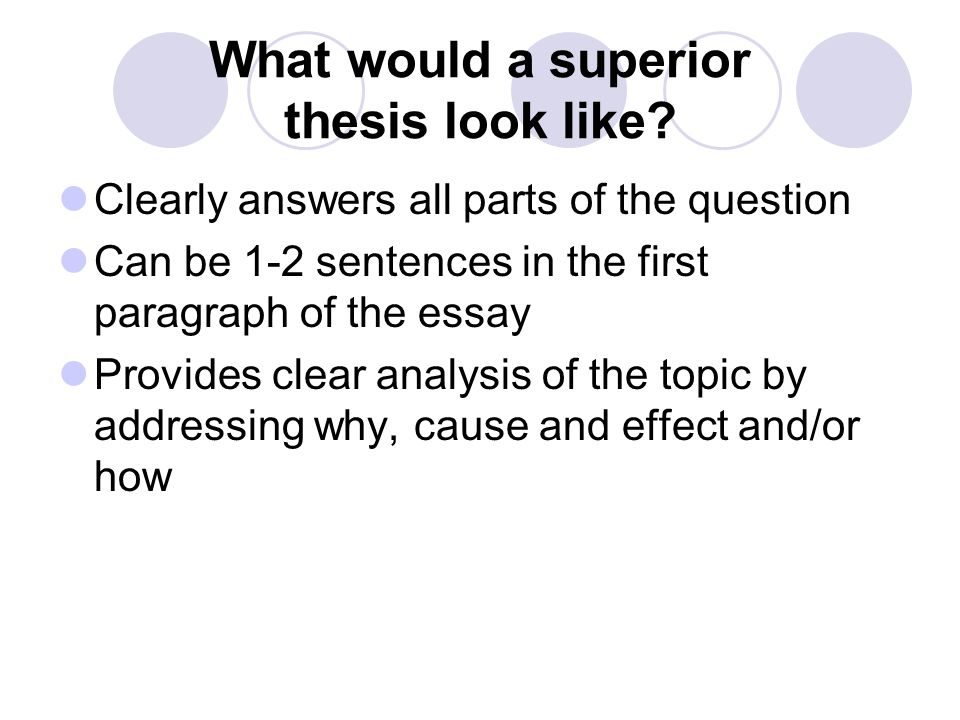 What would a superior thesis look like