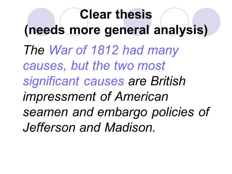 Clear thesis (needs more general analysis)