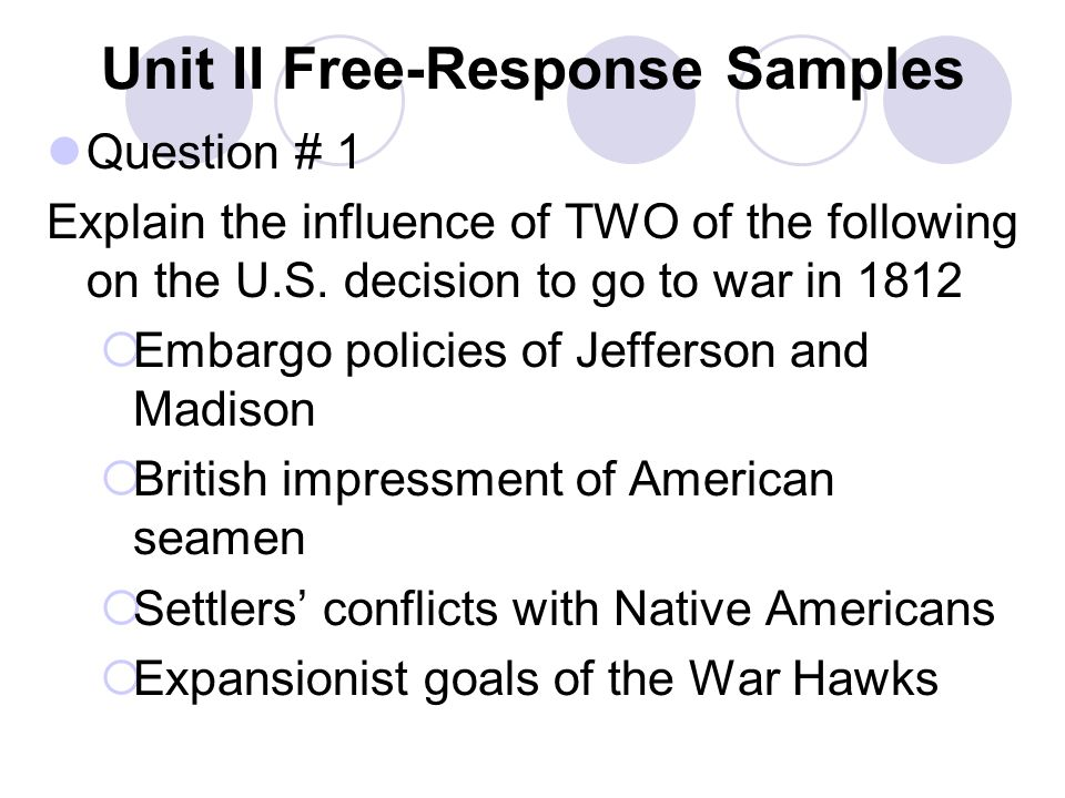 Unit II Free-Response Samples