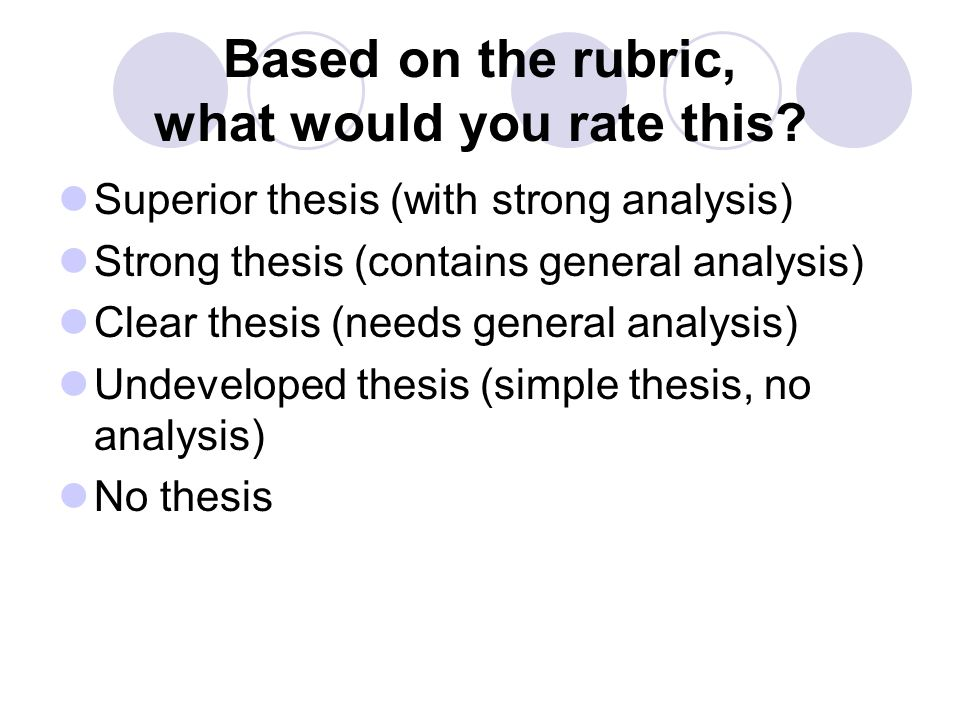 Based on the rubric, what would you rate this