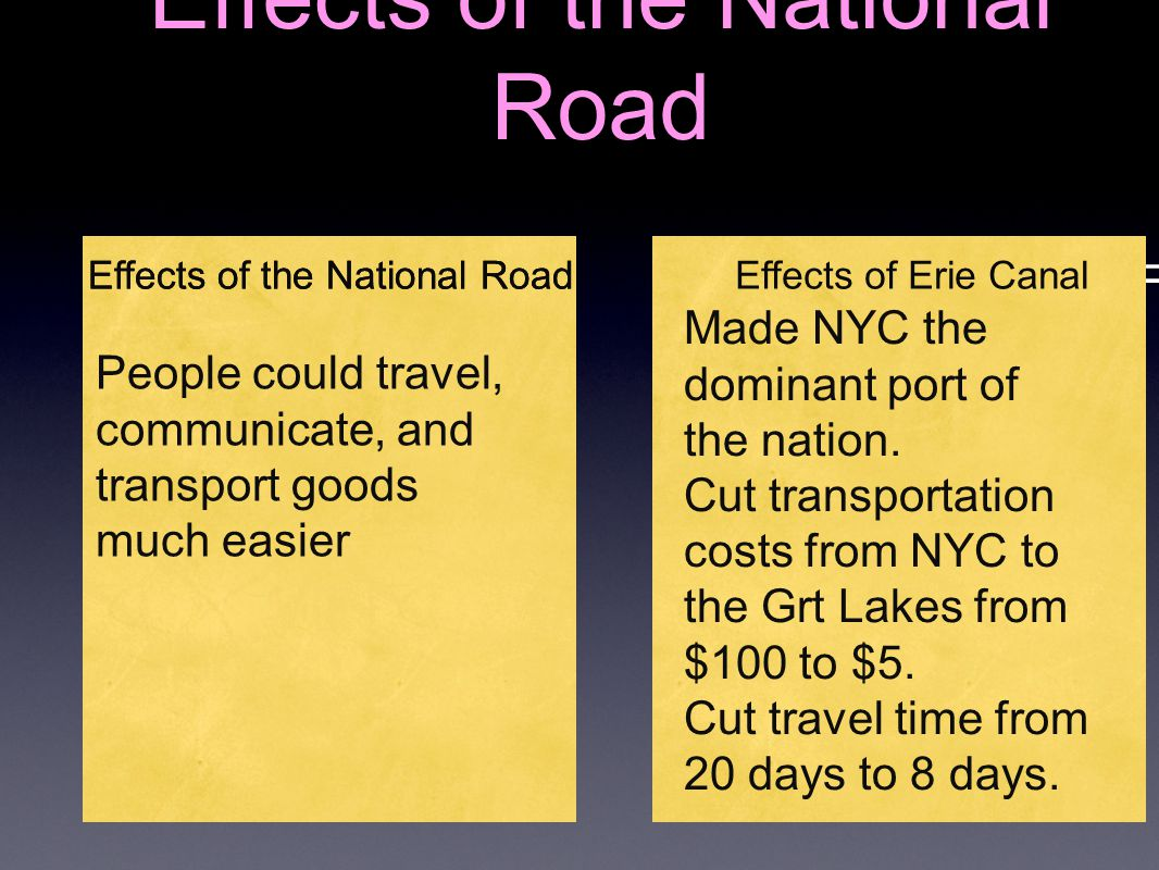 Effects of the National Road