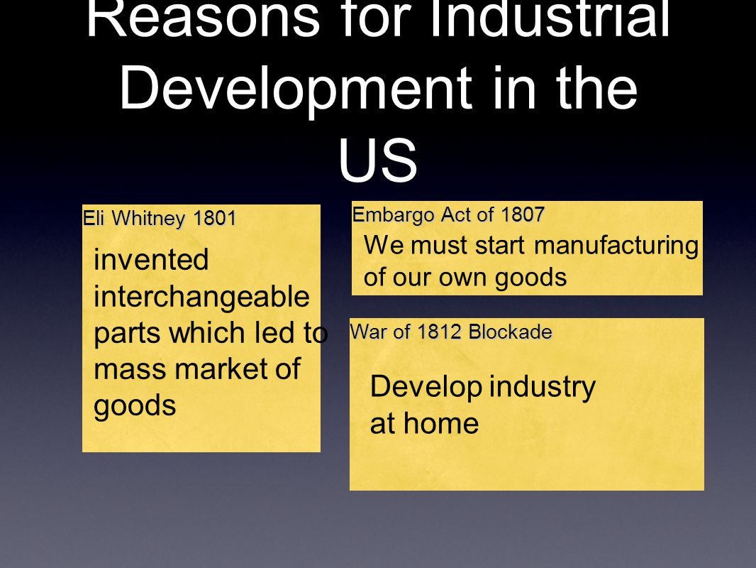 Reasons for Industrial Development in the US