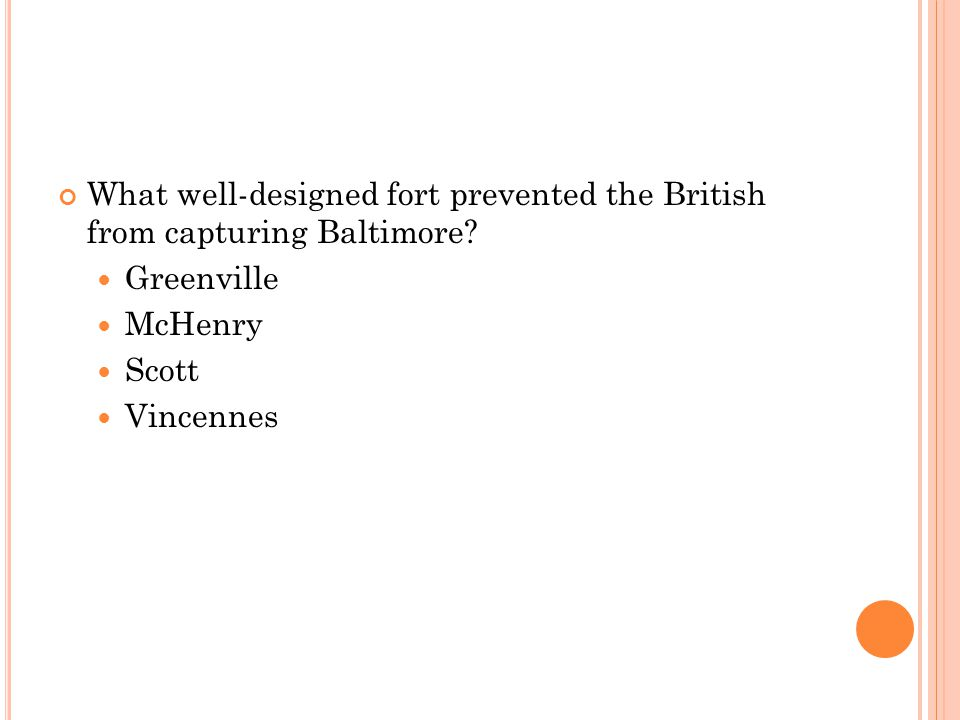 What well-designed fort prevented the British from capturing Baltimore
