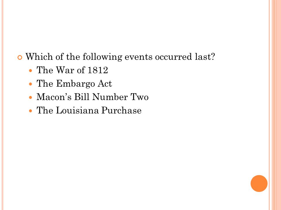 Which of the following events occurred last