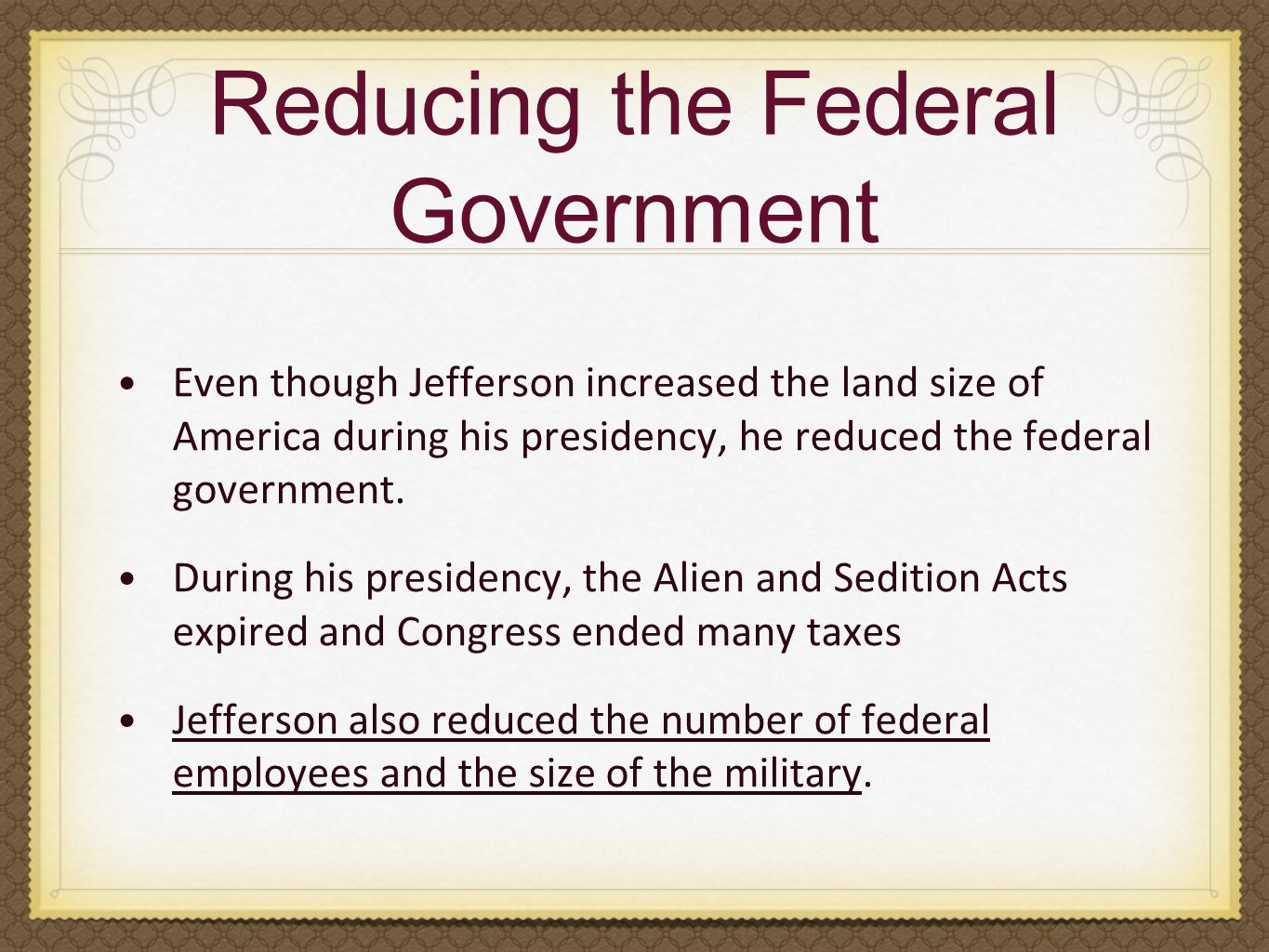 Reducing the Federal Government