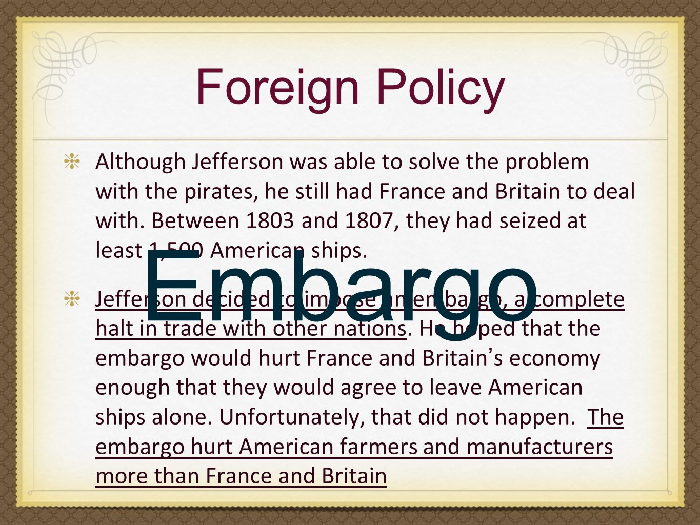 Embargo Foreign Policy