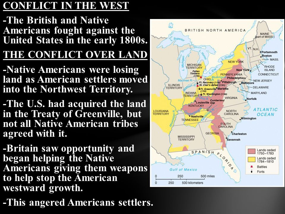 CONFLICT IN THE WEST -The British and Native Americans fought against the United States in the early 1800s.