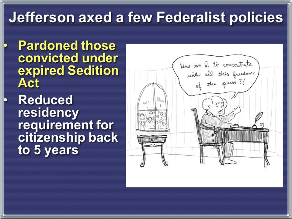 Jefferson axed a few Federalist policies