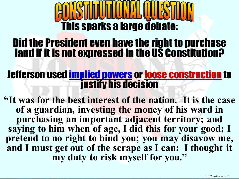 CONSTITUTIONAL QUESTION