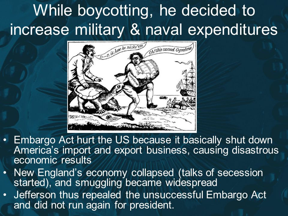 While boycotting, he decided to increase military & naval expenditures
