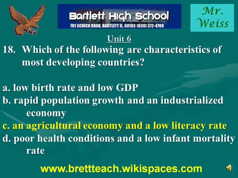 a. low birth rate and low GDP