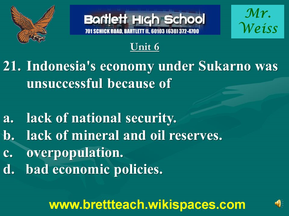 Indonesia s economy under Sukarno was unsuccessful because of