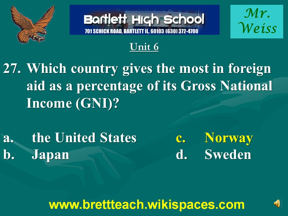 a. the United States c. Norway b. Japan d. Sweden