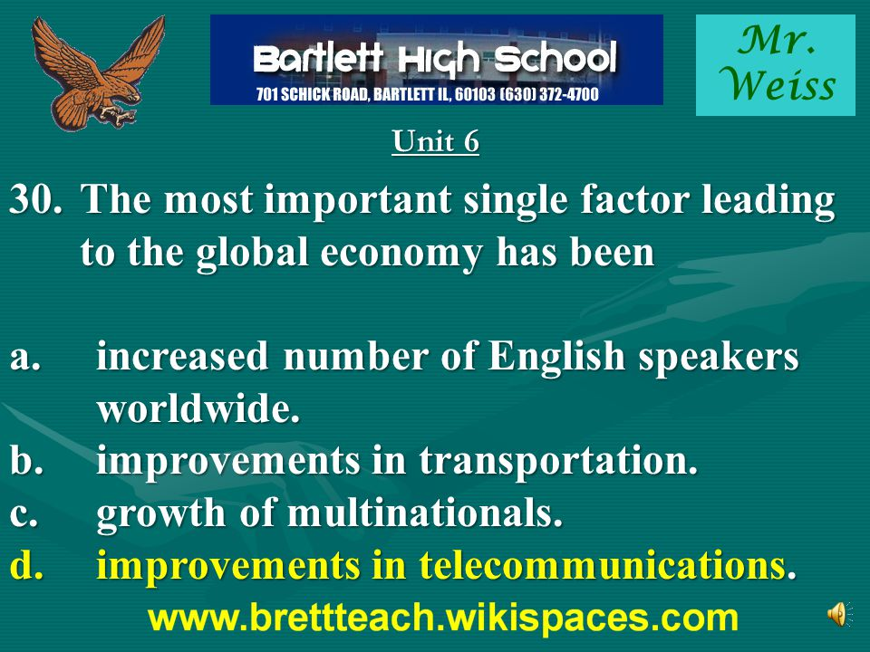 a. increased number of English speakers worldwide.
