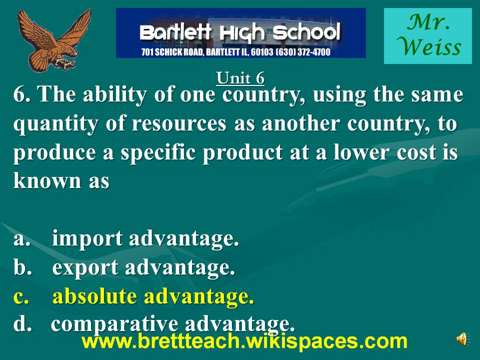 d. comparative advantage.