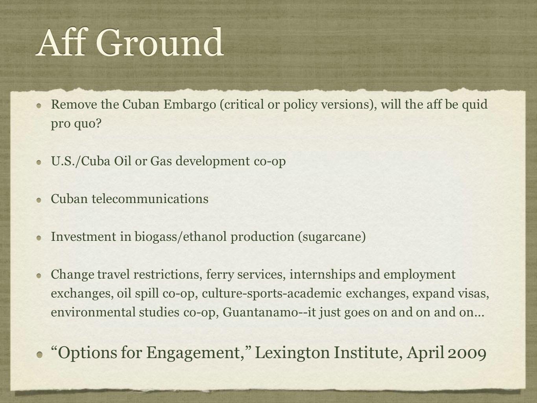 Aff Ground Options for Engagement, Lexington Institute, April 2009