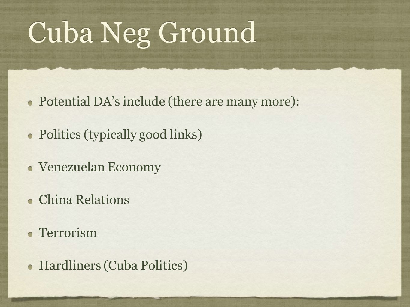 Cuba Neg Ground Potential DA's include (there are many more):