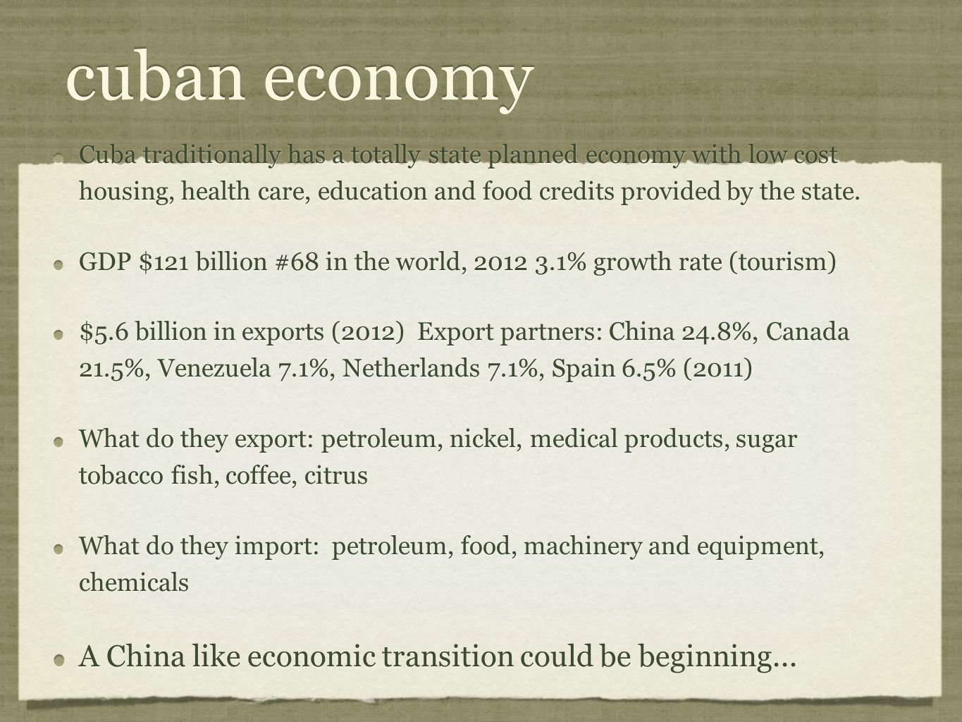 cuban economy A China like economic transition could be beginning...
