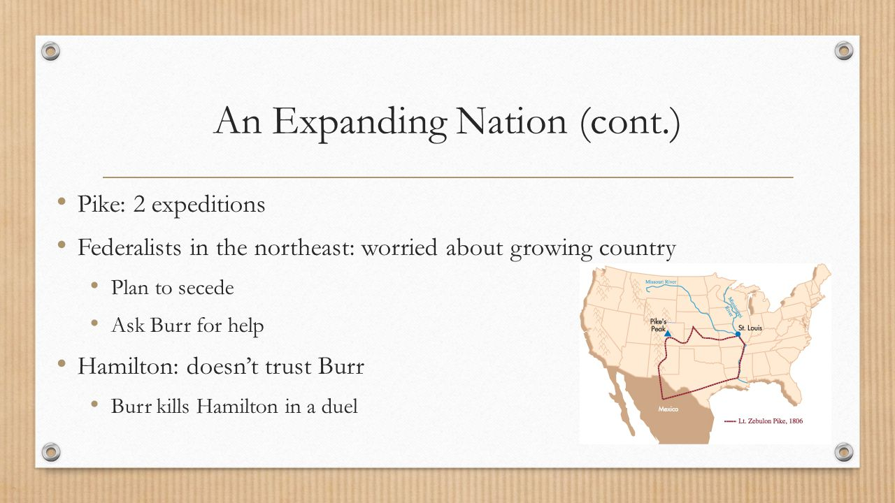 An Expanding Nation (cont.)