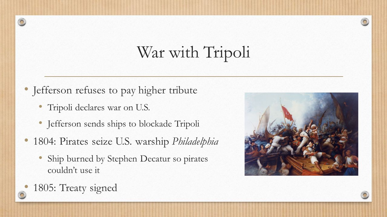 War with Tripoli Jefferson refuses to pay higher tribute