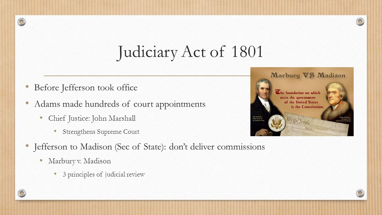 Judiciary Act of 1801 Before Jefferson took office