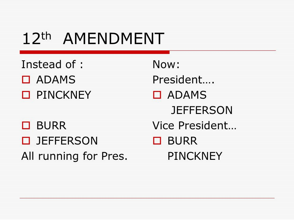 12th AMENDMENT Instead of : ADAMS PINCKNEY BURR JEFFERSON