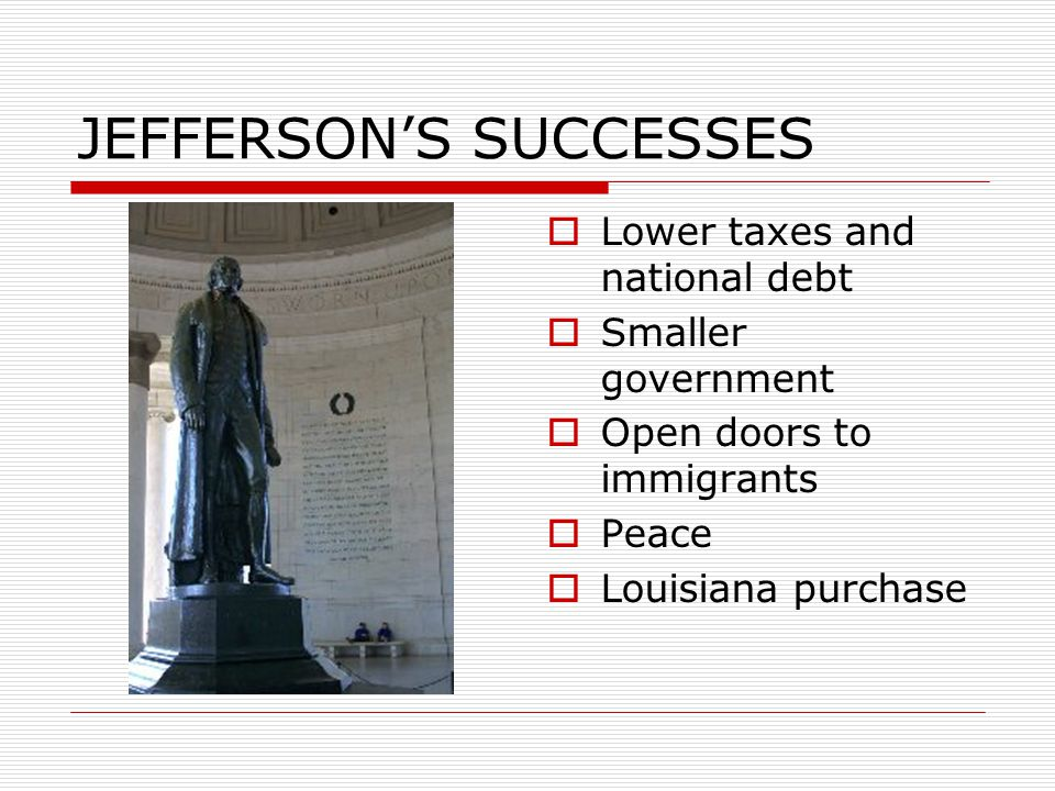 JEFFERSON'S SUCCESSES