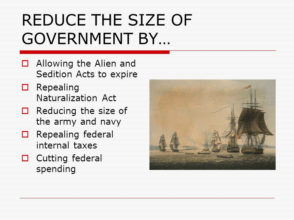 REDUCE THE SIZE OF GOVERNMENT BY…