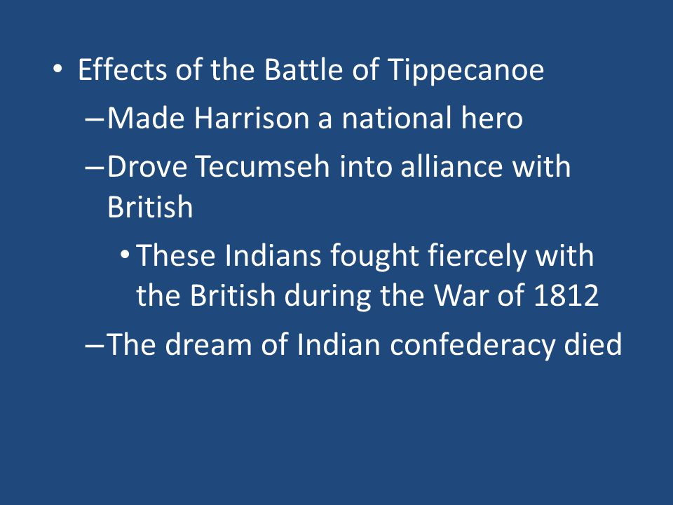 Effects of the Battle of Tippecanoe