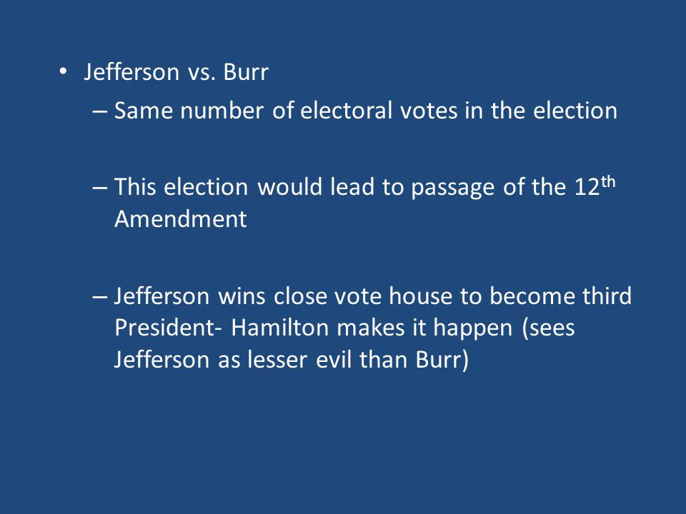 Jefferson vs. Burr Same number of electoral votes in the election. This election would lead to passage of the 12th Amendment.