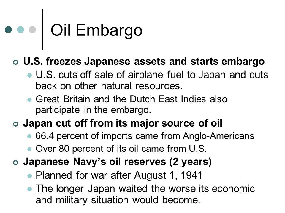 Oil Embargo U.S. freezes Japanese assets and starts embargo