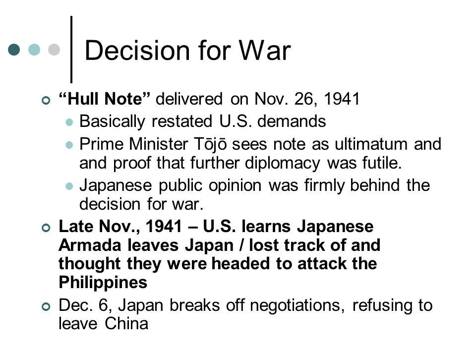 Decision for War Hull Note delivered on Nov. 26, 1941