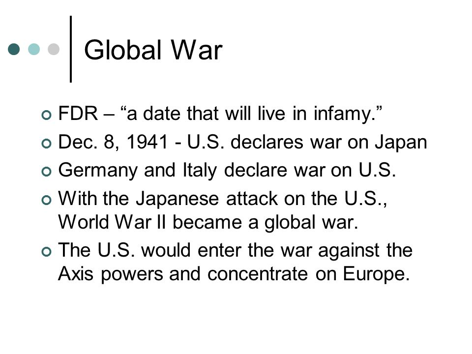 Global War FDR – a date that will live in infamy.