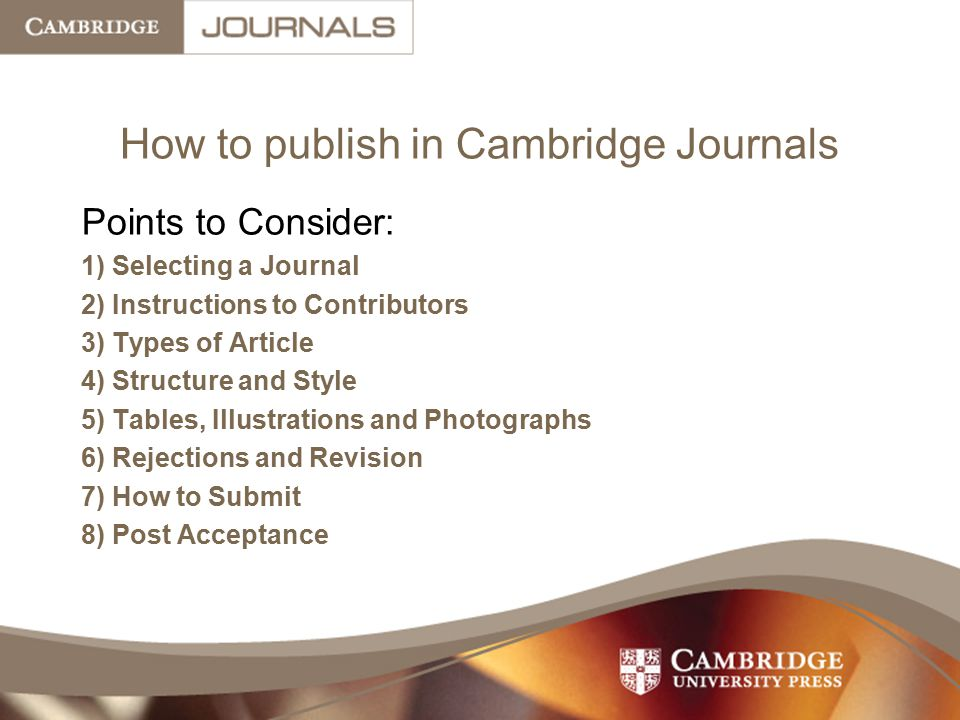 How to publish in Cambridge Journals