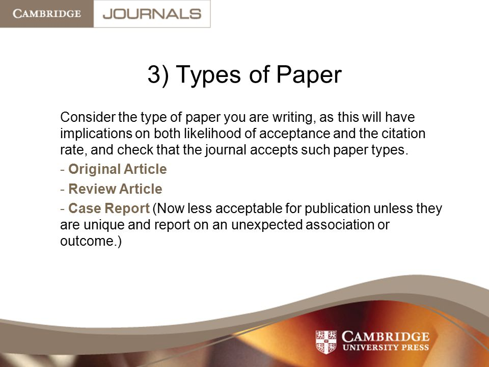 3) Types of Paper