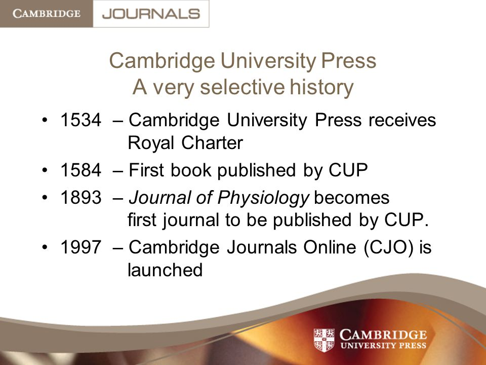 Cambridge University Press A very selective history