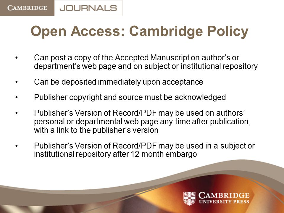 Open Access: Cambridge Policy