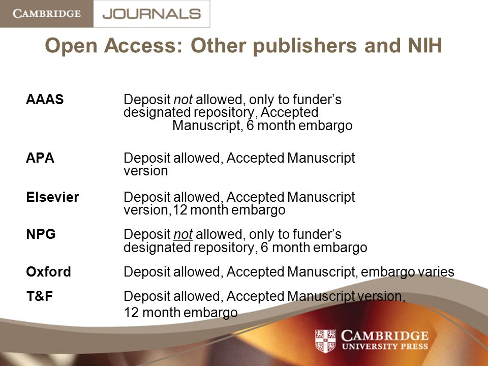 Open Access: Other publishers and NIH