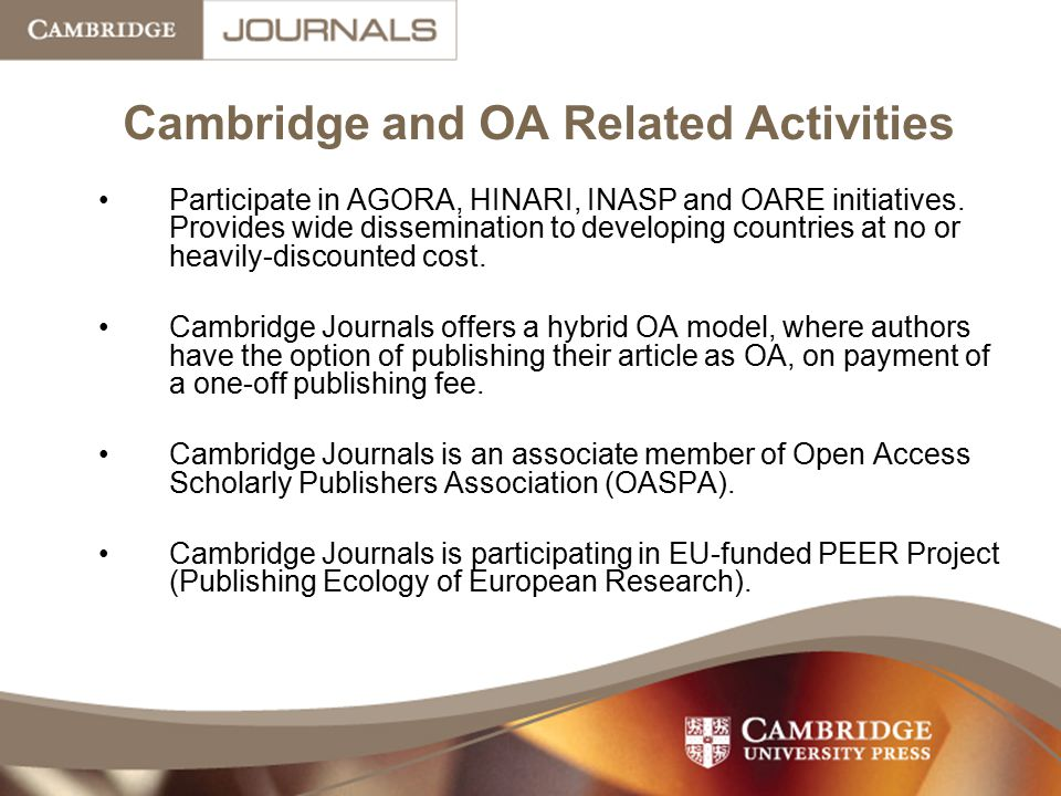 Cambridge and OA Related Activities